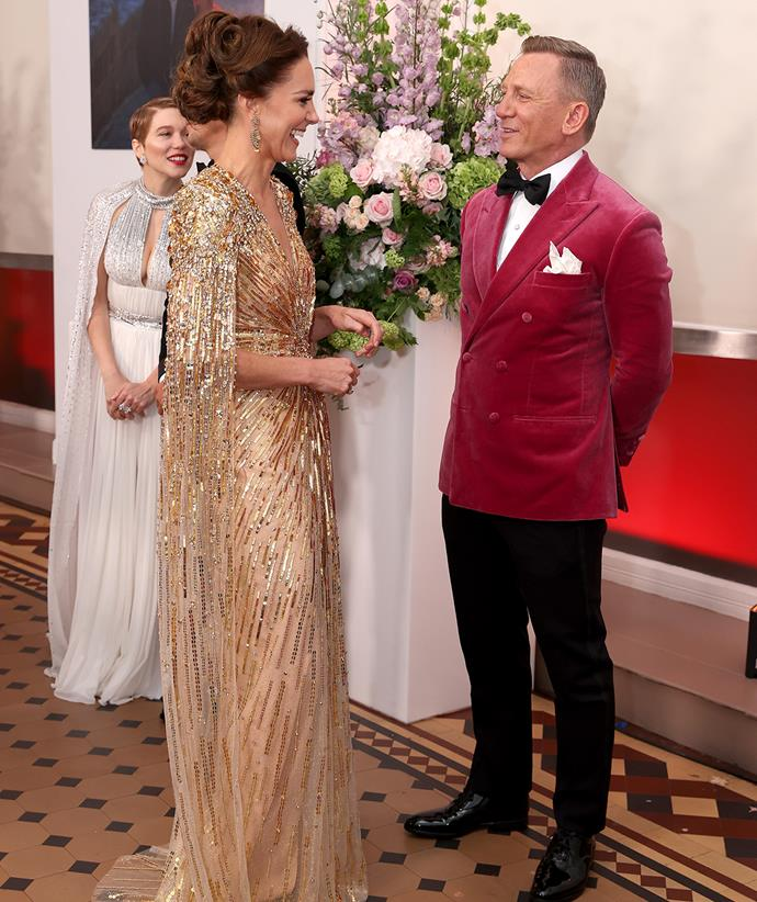 Catherine and the other royals spent time chatting with the film's stars, including Daniel Craig.