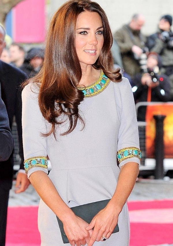 For the UK premiere of *African Cats* in 2012, Kate wore her shortest red carpet dress to date designed by Matthew Williamson.