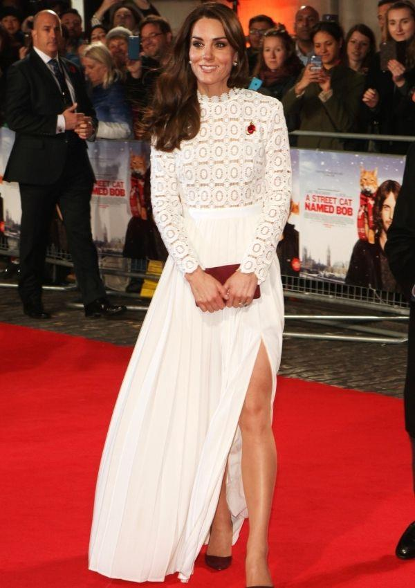 For the premiere of *A Street Cat Named Bob* Kate wore this Self Portrait dress, and its high slit was rather daring for the royal.