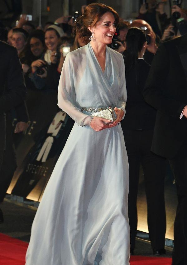 Kate also wore Jenny Packham to the *Spectre* premiere at Royal Albert Hall in 2015. The pastel blue shade looks as pretty as a cloud, and the draping neckline perfectly complements her figure.