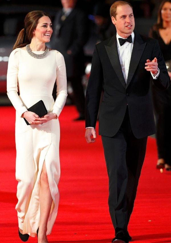 For the 2013 premiere of *Mandela: Long Walk To Freedom,* Kate recycled a Roland Mouret dress she wore before her 2011 wedding. Its uniquely structured shoulder details and thigh slit set her apart from the other attendees.