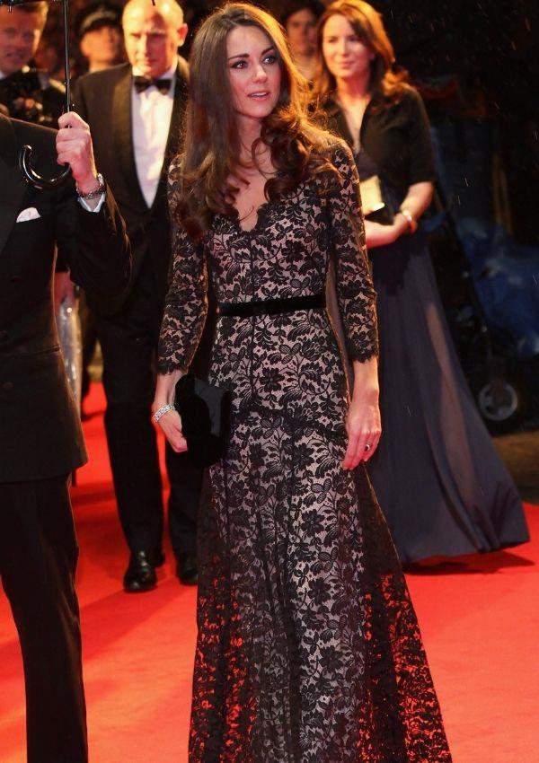 Kate's Temperley London black lace dress with a demure v-neckline is perhaps one of her best looks of all time. It's modest but also thoroughly modern. She wore this iconic number to the *War Horse* premiere in 2012.