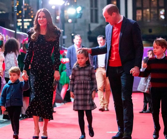 For a special pantomime performance of *The National Lotterys Pantoland* in 2020, Kate dazzled in this Alessandra Rich petal-print dress.