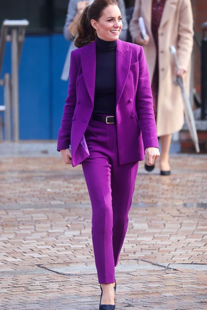 The Duchess of Cambridge looked stunning in her purple Emelia Wickstead pantsuit.