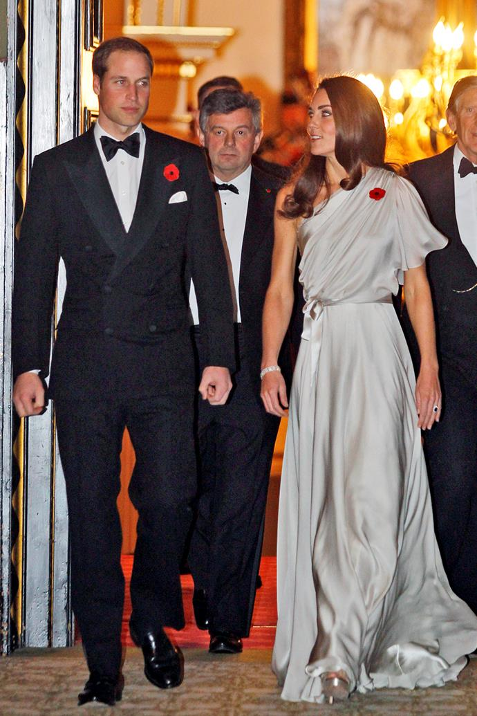 But don't assume that Jenny Packham gowns are only about sparkling diamantes and embellishments. Catherine styled this understated draped gown with Old Hollywood curls at the National Memorial Arboretum Appeal at St James's Palace in 2011.