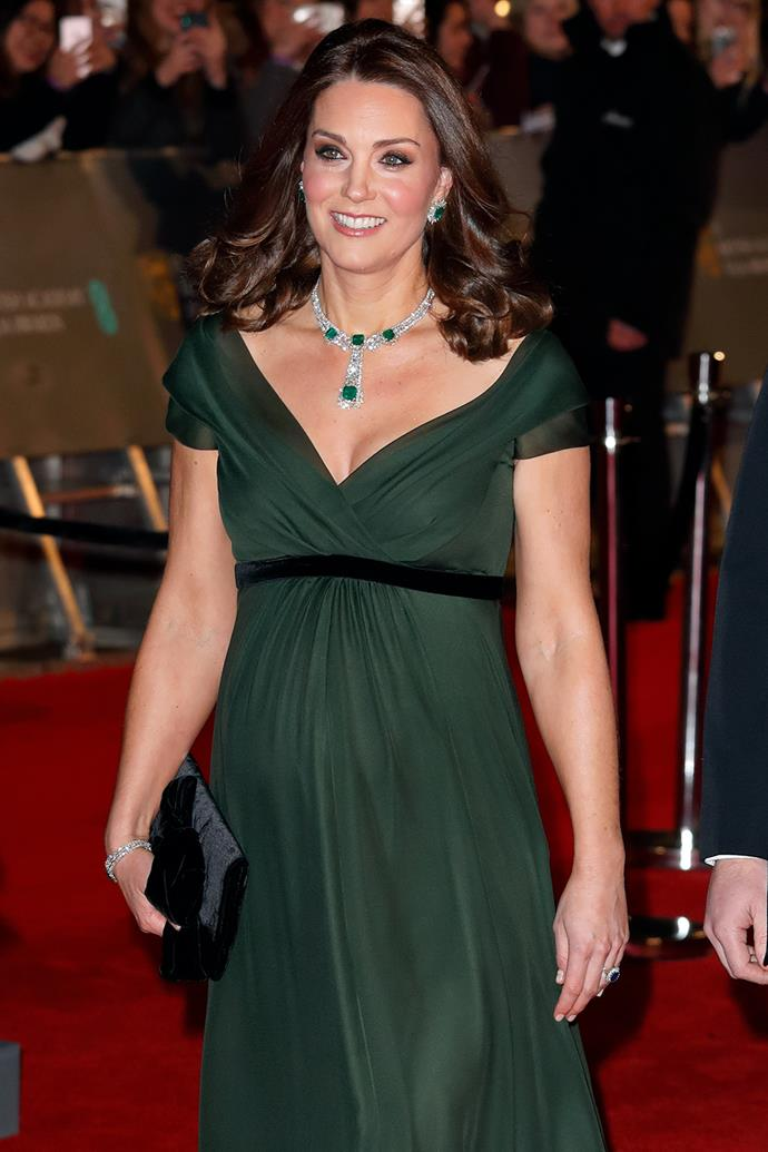 Around the same time, she donned this regal green gown to attend the 2018 BAFTAs, accentuating the forst green hue with sparkling diamond and emerald jewels.