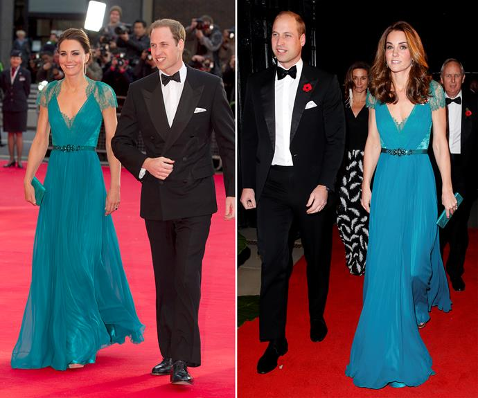 Anothe style she rewore was this striking teal gown she wore for the launch party for Team GB and Paralympics GB in 2012, and the Tusk Conservation Awards in 2018.