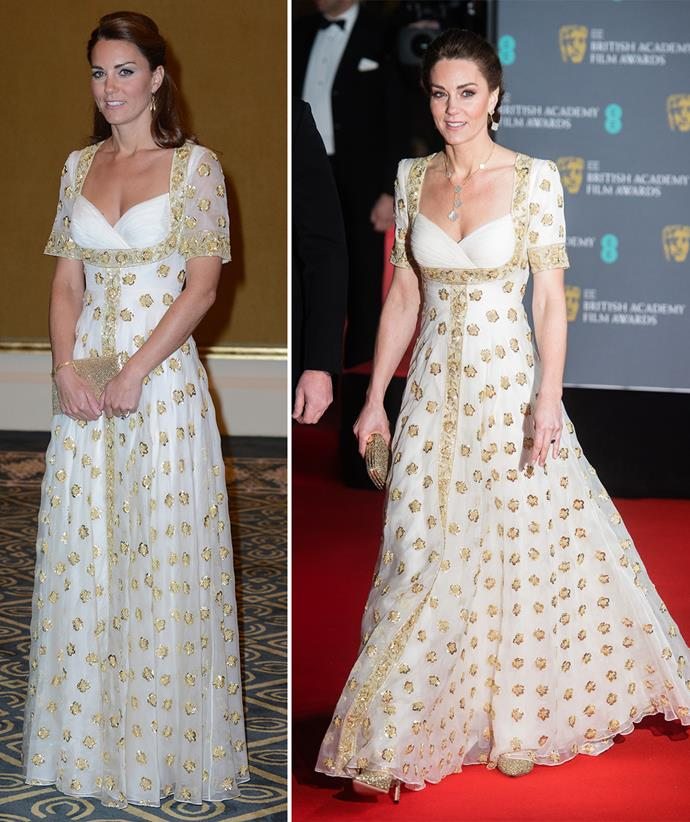 The duchess loves this label so much that she's been known to recycle her gowns, such as this white and gold style she first wore on a tour of South East Asia in 2012, then again at the BAFTAs in 2020.