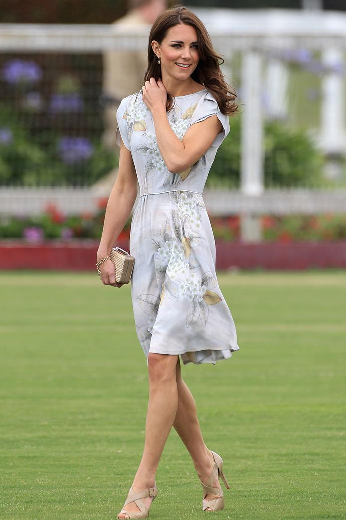 During her 2011 visit to the US, Kate wowed royal watchers in this short printed Jenny Packham number she wore to the Santa Barbara Racquet and Polo Club.