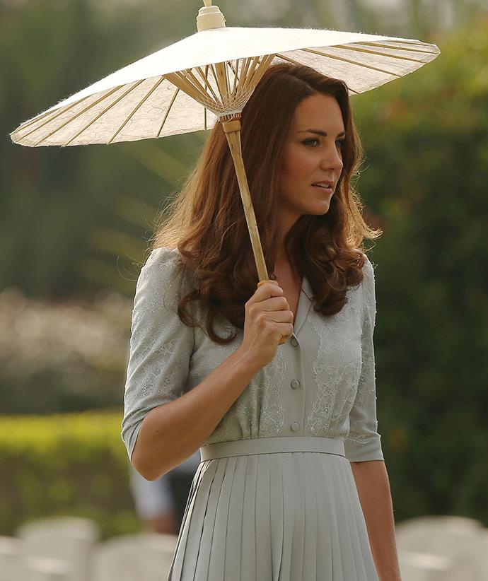 This delicate blue frock with matching lace details was a fan favourite when the duchess wore it while touring the Kranji War Memorial in Singapore in 2012.