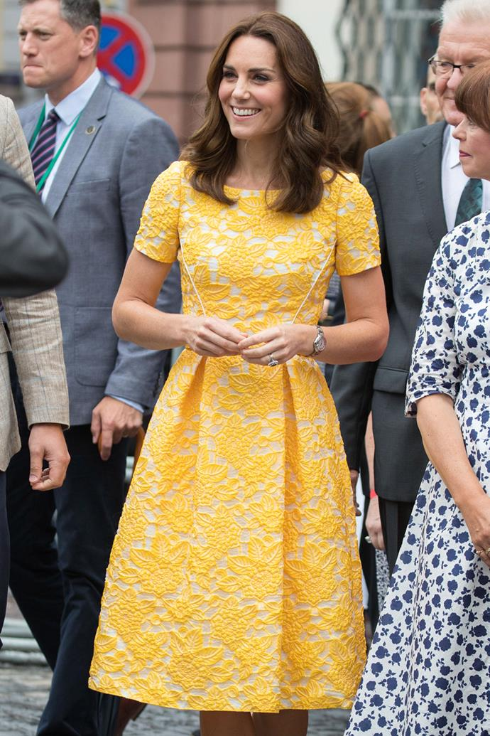Another stunning yellow number! Catherine chose this structured dress for a day out touring a traditional German market in Germany in 2017.