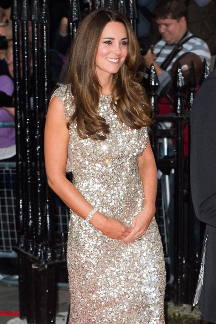 One of her most glitzy frocks to date, Catherine pulled out this glittering gown to attend the Tusk Trust Conservation Awards in 2013 shortly after welcoming Prince George.