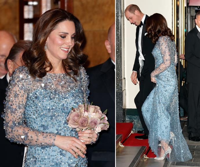 She donned another gem-encrusted gown while attending the Royal Variety Performance at the Palladium Theatre with William in 2017.