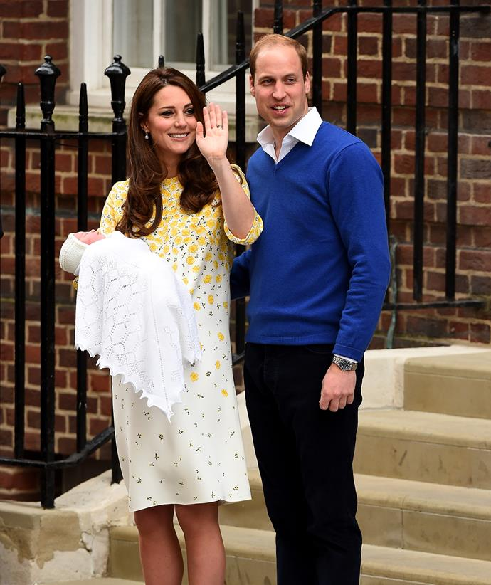 After giving birth to Charlotte in 2015, Kate chose another smock down, this tim in while with a cascade of yellow flowers printed across the chest, shoulders and sleeves.