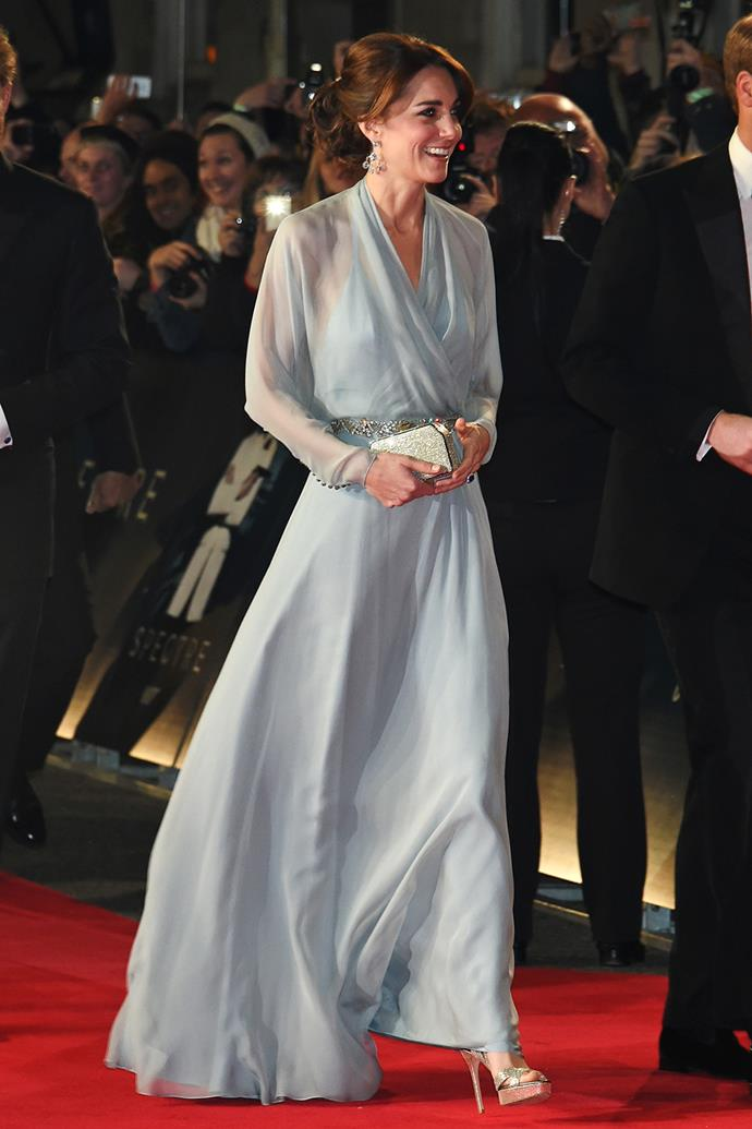 She wore another Jenny Packham design in powder blue chiffon to the James Bond *Spectre* premiere in 2015.