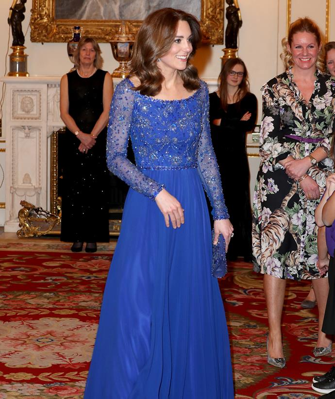 She sported a similar style in royal blue for one of her few in-person engagements of 2020, when she hosted a Gala Dinner in celebration of the 25th anniversary of Place2Be at Buckingham Palace.
