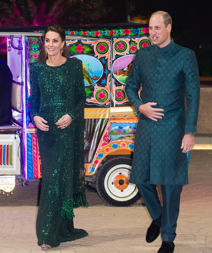 This sparkling green number was a custom version of Jenny Packham's 'Georgia' dress, which Catherine wore during her and William's Pakistan tour in 2019.
