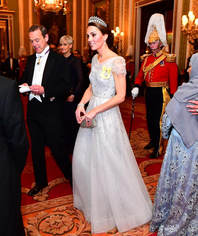 Who could forget this delicate chiffon gown dotted with sparkling gems? Catherine looked like a real life princess when she wore this for an evening reception for members of the Diplomatic Corps in 2018.