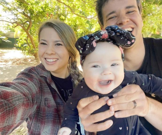 """Bindi captioned this adorable family snap, """"We've got those sunshine smiles. ☀️ @chandlerpowell."""""""