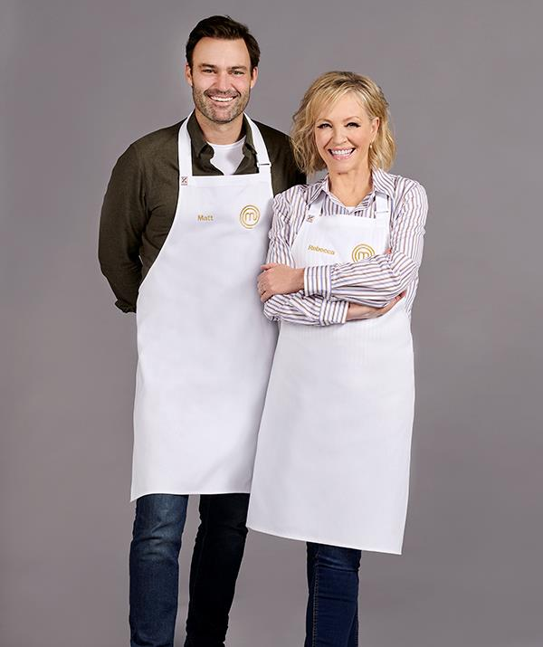 Matthew and his Celebrity MasterChef co-star Rebecca Gibney.