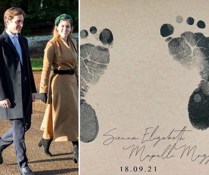 **Sienna Elizabeth Mapelli Mozzi** <br><br> Princess Beatrice and her husband Edoardo Mapelli Mozzi welcomed their first child together, a baby girl, on Saturday 18 September.  <br><br> A few weeks later, they finally revealed their daughter's name on their social media, which pays homage to Beatrice's iconic grandmother.  <br><br> The newborn's middle name Elizabeth is an ode to her great-grandmother Queen Elizabeth II, and her first name, Sienna, references the Italian city of Siena of Tuscany. Considering Edoardo is reported to have ties to the Italian aristocracy, it's a fitting addition to her moniker.