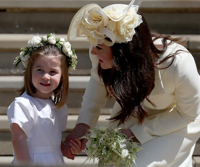 Kate Middleton with Princess Charlotte on Meghan Markle and Prince harry's wedding day in 2018.