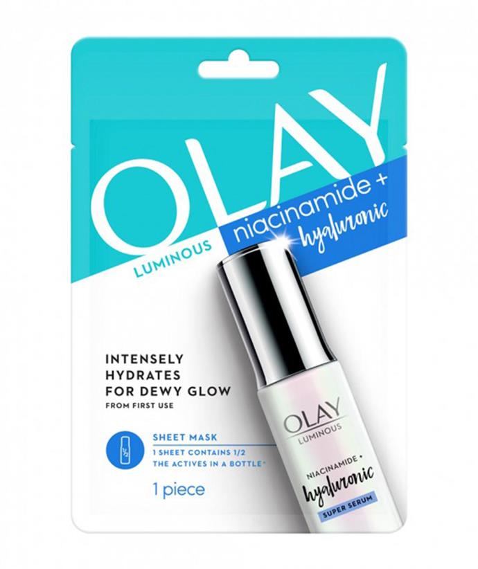 """[Olay Luminous Niacinamide & Hyaluronic Sheet Mask, $11, from Woolworths.](https://fave.co/3mmfZZC