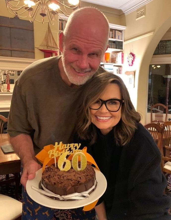 Lisa with her husband Peter celebrating his birthday together.