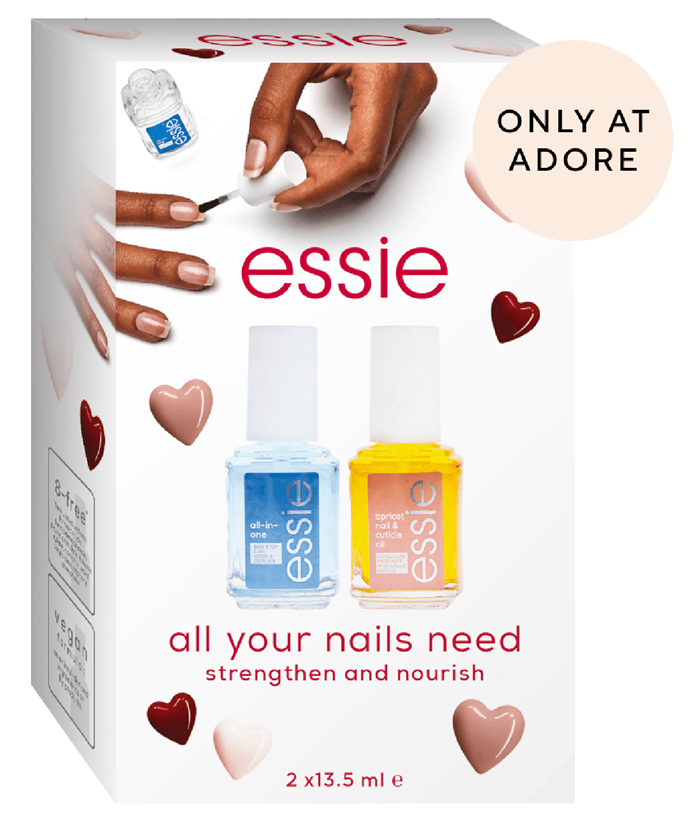 """[essie Care Essentials Giftset, $25, Adore Beauty.](https://fave.co/2YgvQR4