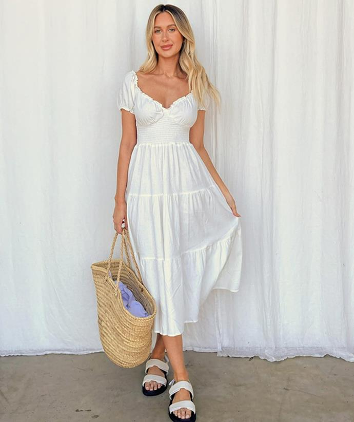 """Shop the floaty midi dress trend: [Dazie Pinot Grigio Midi Dress, $119.99, from The Iconic.](https://fave.co/2WLXPrq
