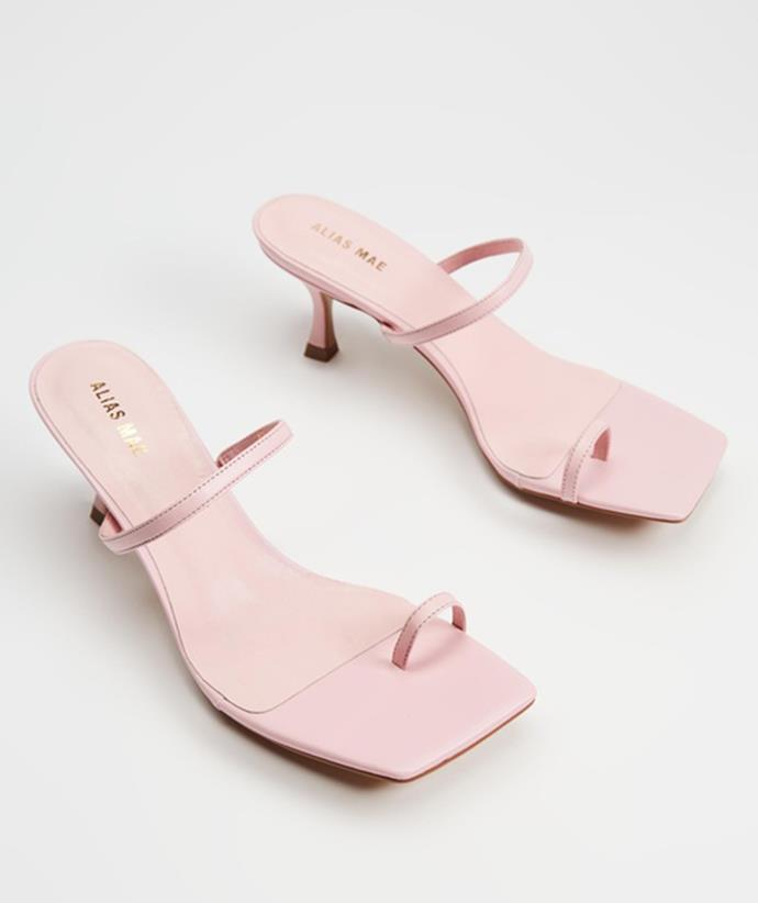 """Shop the kitten heels trend: [Alias Mae Baker heels, $219.95, from The Iconic.](https://fave.co/3Ac7J3c
