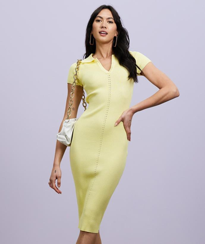 """Shop the t-shirt dress trend: [Missguided Ribbed Collar Midi Dress, $59.95, from the Iconic.](https://fave.co/3FgS6es