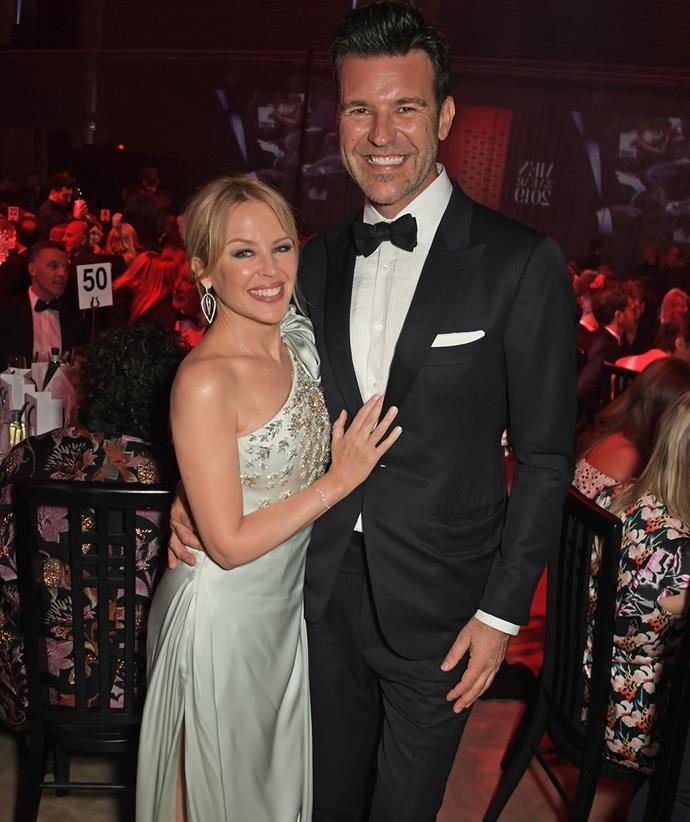 Kylie Minogue with boyfriend Paul Solomons in 2019.