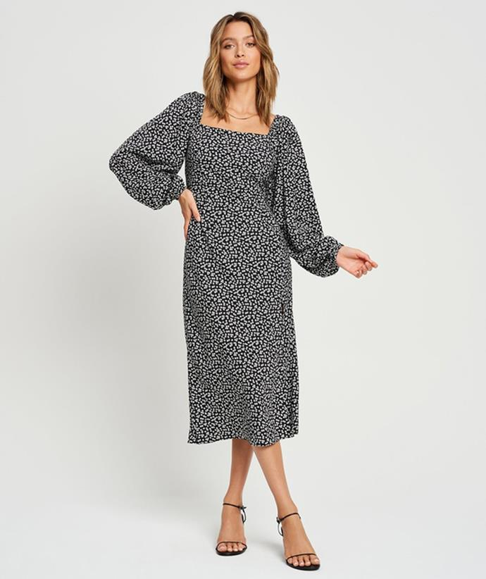 """[Tussah Jenny Midi Dress, on sale for $64.98, from The Iconic.](https://fave.co/3BemhjX target=""""_blank"""" rel=""""nofollow"""")"""