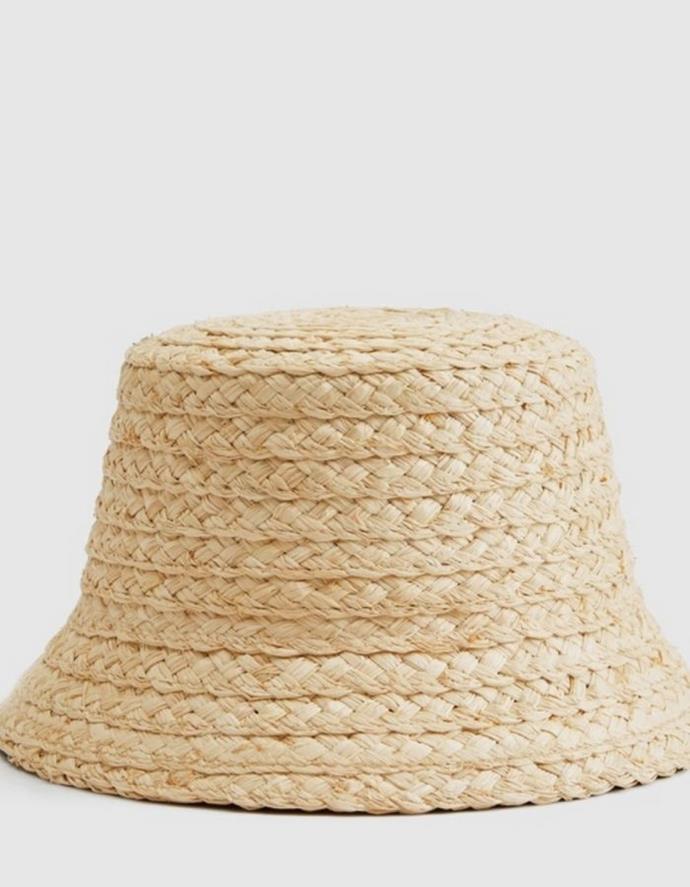 "Witchery Rio Raffia Bucket Hat, $69.95, [The Iconic.](https://go.skimresources.com?id=105419X1569321&xs=1&url=https%3A%2F%2Fwww.theiconic.com.au%2Frio-raffia-bucket-hat-1418917.html target=""_blank"")"