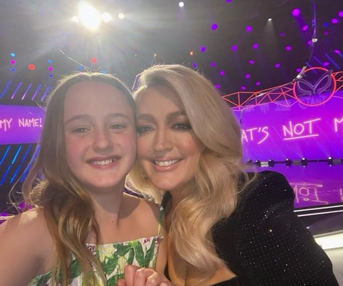 """At the pointy end of *The Masked Singer*'s 2021 season, Jackie O's daughter visited her on set to hang out in between takes. <br><br> """"Besties hanging on set🖤💚 Gearing up for the best episode of @themaskedsingerau,"""" she wrote."""