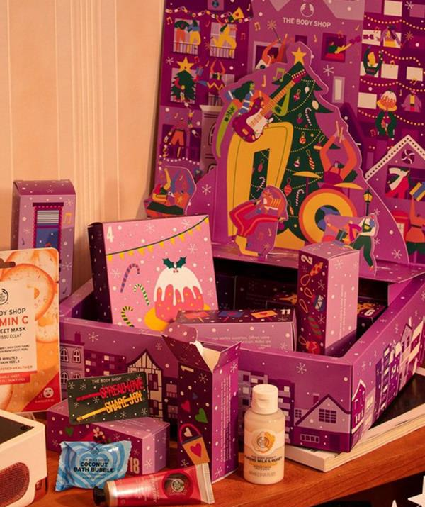 """[**The Body Shop**](https://www.thebodyshop.com/en-au/gifts/beauty-advent-calendars/c/c00259?gclsrc=aw.ds&gclid=CjwKCAjw7--KBhAMEiwAxfpkWCYZStwBB5twByft0ly6Ch6SgMcaiP4u7IjDZKLekoddBikgunSLBhoChRAQAvD_BwE target=""""_blank"""") <br><br> The Body Shop has a comprehensive offering of beauty advent calendars, ranging from $100 to $150.  <br><br> At $100, the Share the Joy Advent Calendar is the perfect gift for you from you, which includes 24 mini treats from the skincare and beauty giant. <br><br> It's packed with loads of mini head-to-toe treats for keeping you and that beautiful body pampered all season. <br><br> While The Body Shop likes to keep some things a surprise for each day of the month, shoppers can expect to find a range of hand creams, shower gels, face washes, bubble baths and lip scrubs inside their box of goodness."""