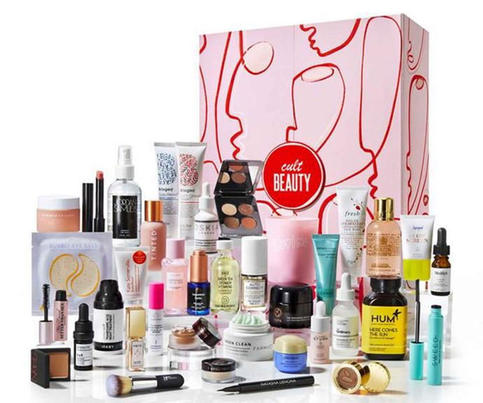 """[**Cult Beauty**](https://www.cultbeauty.co.uk/cult-beauty-cult-beauty-advent-calendar-2021.html target=""""_blank"""") <br><br> The Cult Beauty Advent Calendar 2021 is truly in a league of its own. The 38-piece edit is overflowing with Cult Beauty icons, from under-the-radar 'Skindie' heroes and Cult Conscious favourites to make up's biggest names and everything in between.  <br><br> Shoppers will find beauty favourites from Shiseido, Sunday Riley, IT Cosmetics, NARS, Laura Mercier, The Ordinary, Glow Recipe and Too Faced inside the perfectly curated bundle.  <br><br> Launching in October, the $400 box contains over $1800 worth of products bound to keep you glowing well past the silly season."""