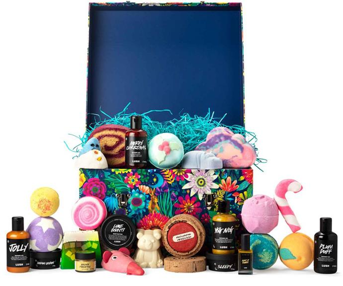 """[**Lush**](https://www.lush.com/au/en/p/lush-advent-calendar-anz target=""""_blank"""") <br><br> If bath products are more your thing, then Lush has you sorted. The vegan, ethical and cruelty-free behemoth has created the one-stop advet calendar, which features 25 products especially selected to bring you joy in the lead up to the big day.  <br><br> This gift includes exclusive retro products that won't be found anywhere else in the range this year, all served up in beautiful reusable packaging. <br><br> Included in the bundle is the Baked Alaska soap, Candy Cane bubble bar, Dream Cream Self-Preserving body lotion, Jolly shower gel and dozens more shower products.  <br><br> The $335 Lush Advent Calendar will officially launch in late September"""