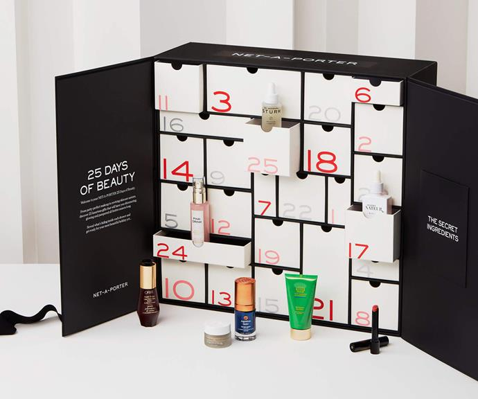 """[**NET-A-PORTER**](https://www.net-a-porter.com/en-gb/porter/article-514d7ee332aab46f/beauty/beauty-memo/net-a-porter-beauty-advent-calendar target=""""_blank"""") <br><br> Containing 17 full-size and eight travel-size products from cult-favorite brands such as Augustinus Bader, Dr. Barbara Sturm and 111Skin, the NET-A-PORTER beauty Advent calendar is a must-have. <br><br> To help your skin look as luminous and polished as possible, NET-A-PORTER has included 111Skin Rose Gold Radiance Booster, Dr. Barbara Sturm Lifting Serum and Omorovicza Deep Cleansing Mask. <br><br> The bundle drops this month, so be sure to keep your eyes peeled."""