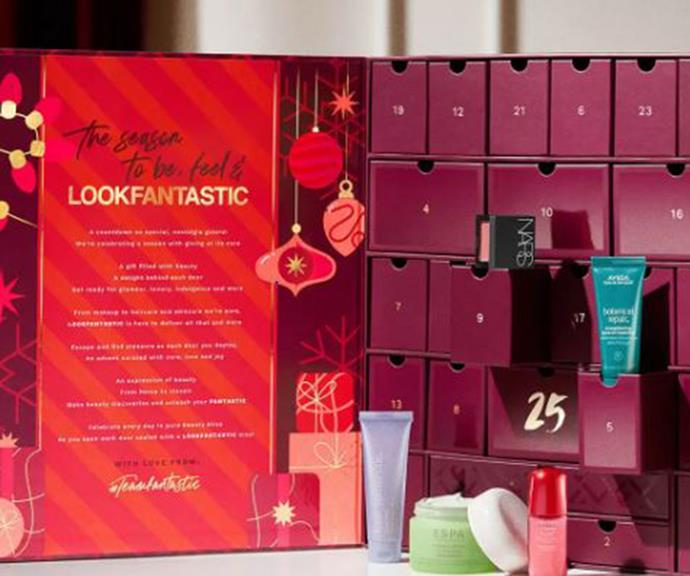 """[**Look Fantastic**](https://www.lookfantastic.com.au/beauty-box/lookfantastic-advent-calendar-2021/11194782.html?affil=thggpsad&switchcurrency=AUD&shippingcountry=AU&shoppingpid=free_ndd_191217&thg_ppc_campaign=71700000082426469&adtype=&product_id=11194782&gclid=CjwKCAjw7--KBhAMEiwAxfpkWENjzwrhiaW1nh8SVBMC-ASTX00Dgvu90CEhc1yZeC59r3sWmfM0TBoChX8QAvD_BwE&gclsrc=aw.ds target=""""_blank"""") <br><br> The Look Fantastic advent calendar is back and better than ever. The skincare shop has packed 25 incredible products into their box, from skincare saviours to haircare and beauty must-haves. With over $765 worth of products, the Look Fantastic bundle is available for just $155, making it one of the more affordable but best-valued calendars on the market.   <br><br> And for a little spoiler alert, the box combines products from the company's top-selling brands, including Shiseido, Aveda, NARS and Kate Somerville. <br><br> Their Advent Calendar has sold out for six years in a row, so be sure to pre-order now so that you don't miss out!"""