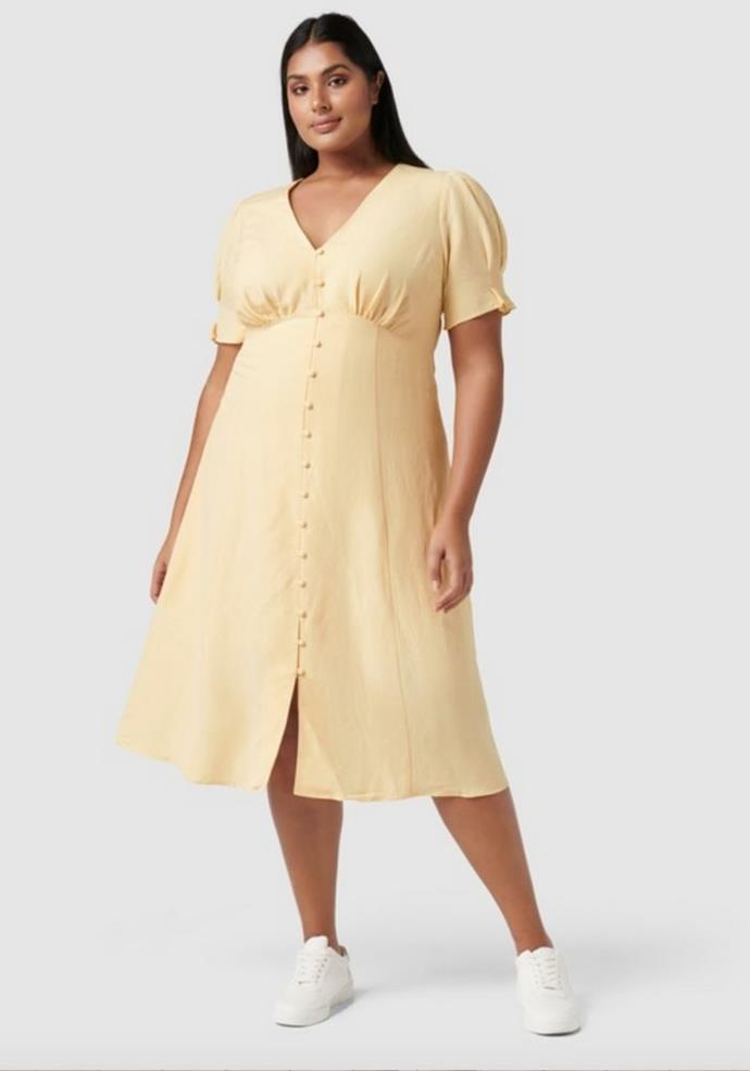 """Forever New Curve Billie Midi, $149.99, [The Iconic.](https://go.skimresources.com?id=105419X1569321&xs=1&url=https%3A%2F%2Fwww.theiconic.com.au%2Fbillie-curve-midi-linen-sun-dress-1407884.html target=""""_blank"""")"""