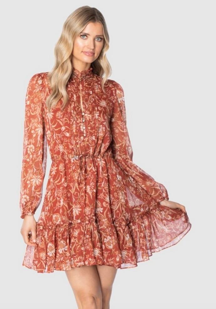"""Pilgrim Beronie Mini Dress, $199.95, [The Iconic.](https://go.skimresources.com?id=105419X1569321&xs=1&url=https%3A%2F%2Fwww.theiconic.com.au%2Fberonie-mini-dress-1396775.html target=""""_blank"""")"""
