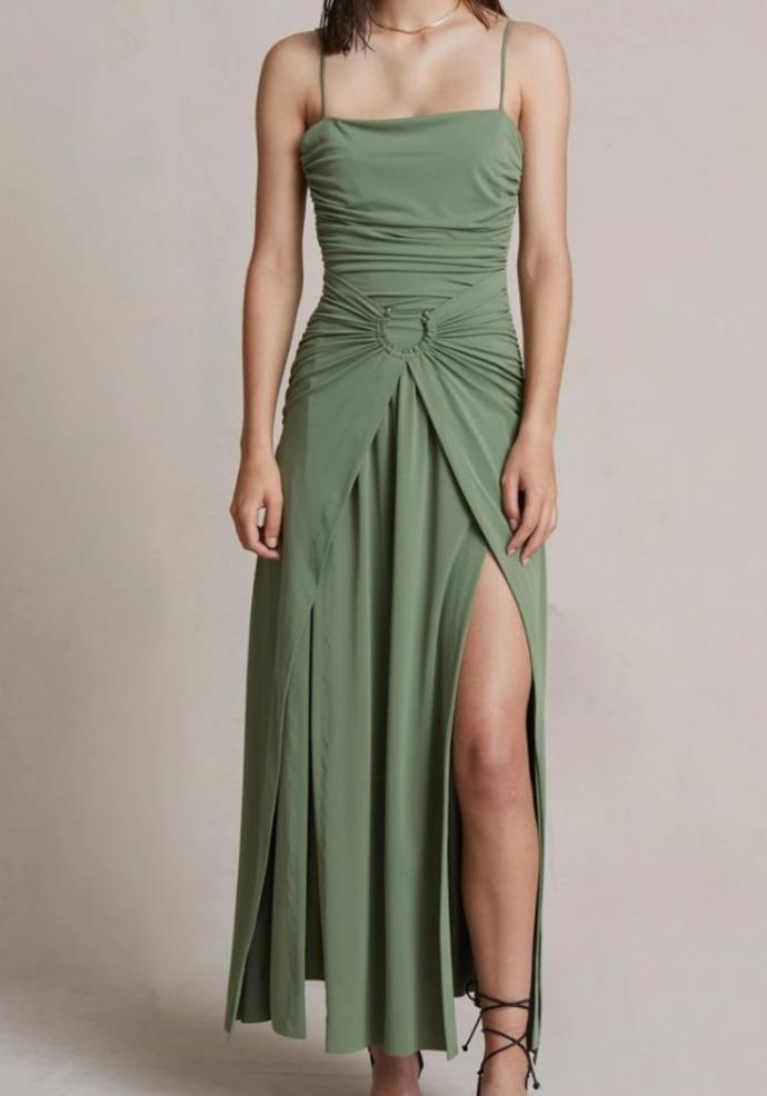 """Vixen Maxi Dress, $360.00, [Bec & Bridge.](https://www.becandbridge.com.au/collections/guests/products/vixen-maxi-dress-olive target=""""_blank"""")"""