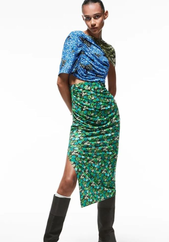"Floral Print Dress, $109.00, [Zara.](https://www.zara.com/au/en/floral-print-dress-p04937534.html?v1=137759763 target=""_blank"")"