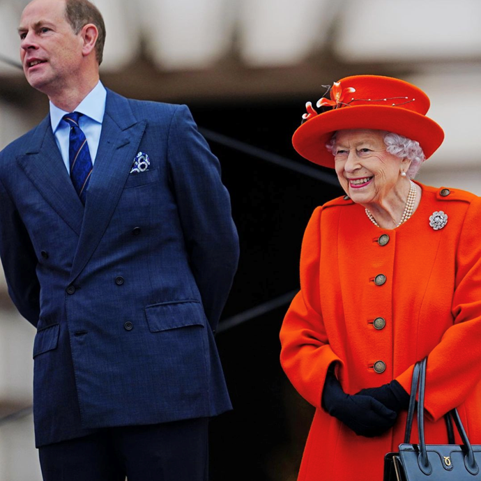 Accompanied by her youngest son Prince Edward, the Queen was all smiles in London.