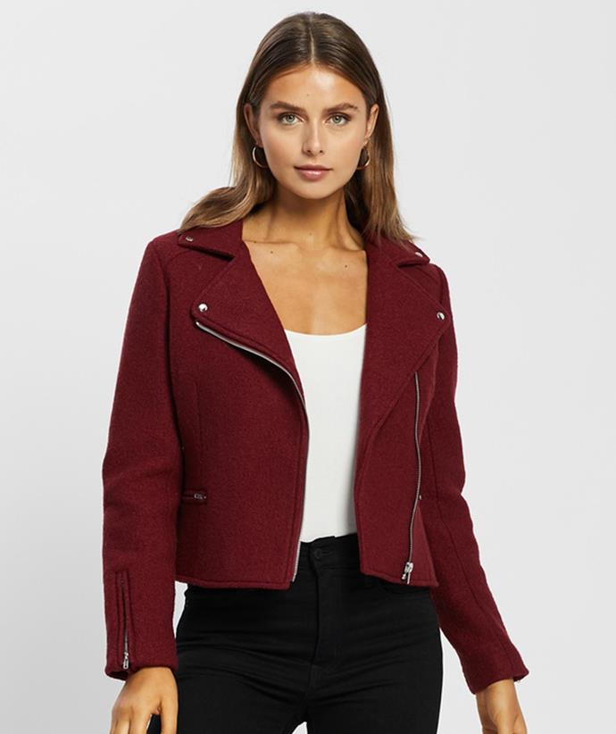 """[Atmos&Here Bella Wool Blend Boucle Biker Jacket, $59.99, from The Iconic.](https://fave.co/3my4n5H target=""""_blank"""" rel=""""nofollow"""")"""