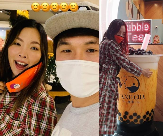 Dami joked about one of these two pictures featuring the love of her life, and what do you think? Is it Noah or bubble tea?