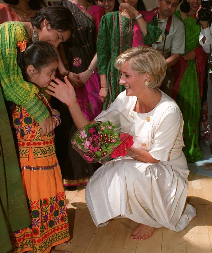 The Princess of Wales' nurturing side shone through whenever she met young girls.