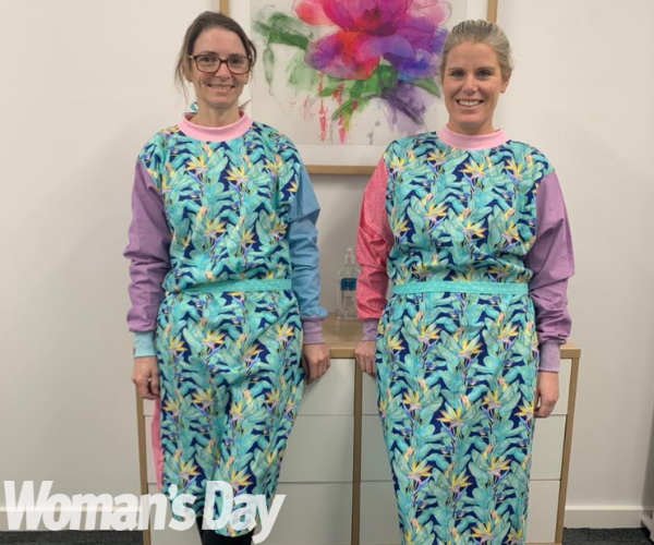 Nicole and Kirby solved the scrubs shortage!